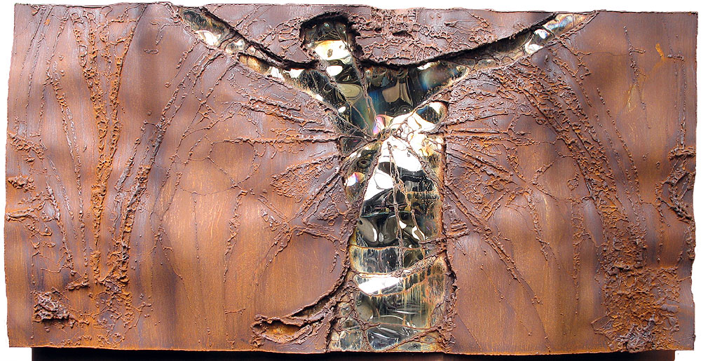 rusted wall sculpture | religious artwork